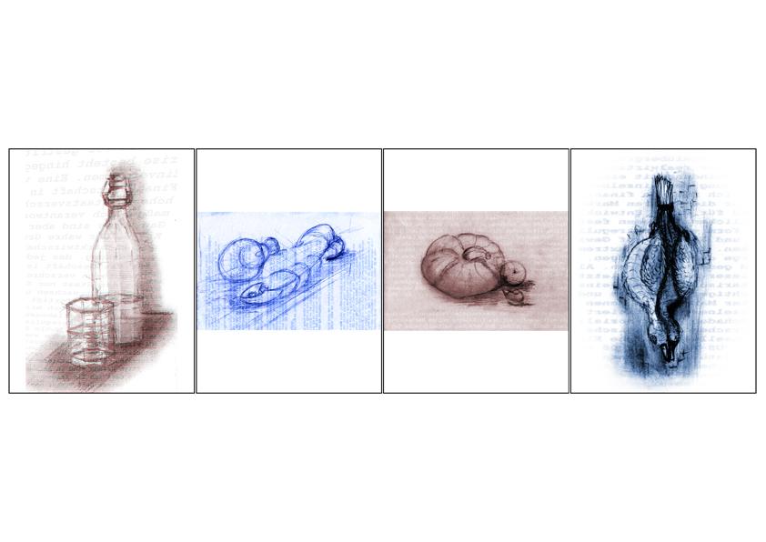 Druck auf der Vorlage von Bleistift und Federzeichnungen. Motiv: Frühling, Sommer, Herbst und Winter